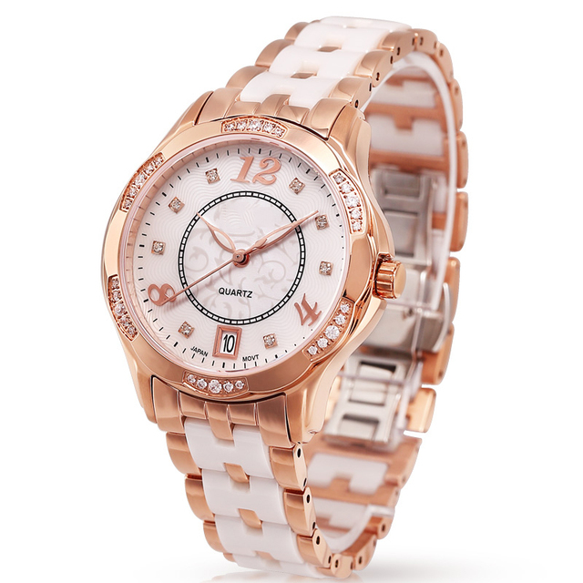 Gold Wrist Watch White Ceramic Band Luxury Watches For Women With Diamond