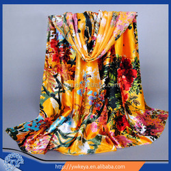 New arrival long style 2016 Satin Silk Flower Printing Scarf for women