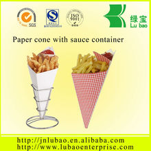 printed food paper cone with sauce container filled 340g fries