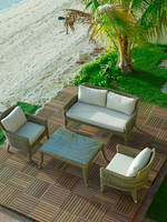 4 seater outdoor garden entertainment furniture with special table leg design and loveseat PE rattan plastic sofa set