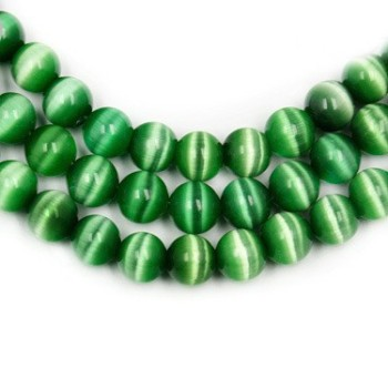 Wholesale-Approx 980pcs/lot A Grade 4mm Green Round Cat Eye Loose Spacer Stone Beads for jewelry making DH-BBB001-02