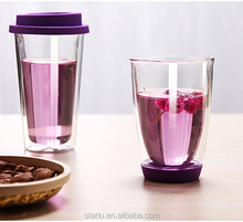promotional 350ml silicone grip double wall drinking coffee tea glass cup with silicone lid