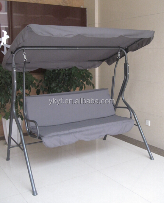 Three seat outdoor gazebo swing without cushion in patio