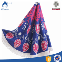 China supplier 100%cotton velour printed watermelon shaped round roundie beach towel with cloth bags