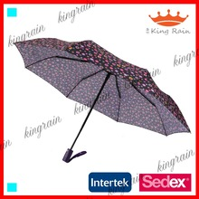Chinese bright color custom printed advertising promotion 3 fold umbrella