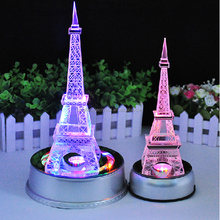 Wholesale Rotates Led Base Centerpieces Tourist Crystal Eiffel Tower