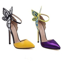 F40124A New fashion ladies shoes fancy design butterfly wings cusp women high heel shoes