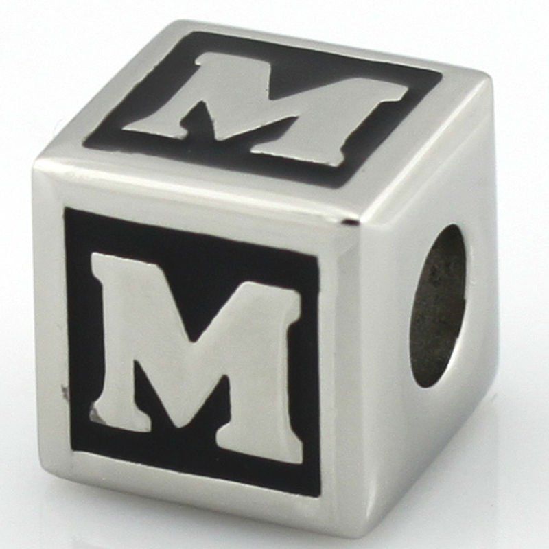 ss square alphabet letter M beads
