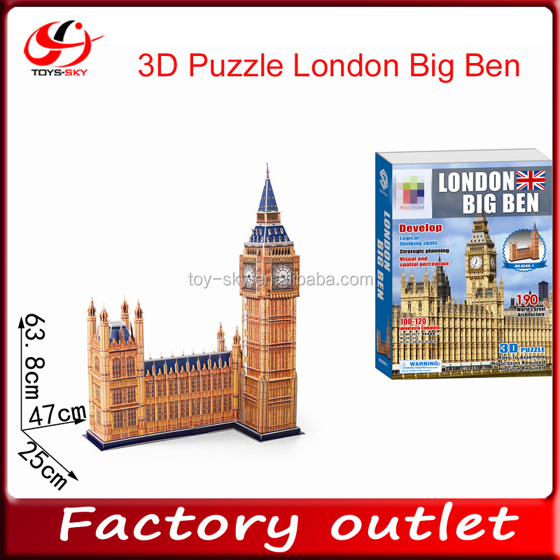 2015 products china DIY toy 3D Puzzle Big Ben kid toy puzzle 3d