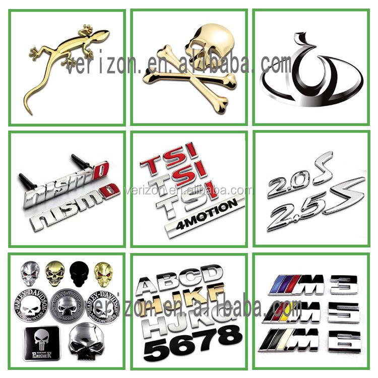 Wholesale 3D ABS plastic chrome plated self- adhesive car emblem badges logo stickers