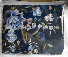 Blue Spanish flamenco piano big shawl manton de manila -100% handmade Chinese silk embroidery-110cm