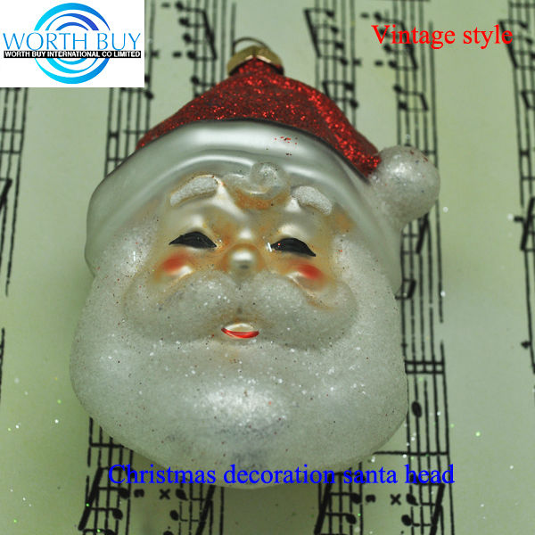 Big beard santa head wholesale glass Christmas ornament supplier