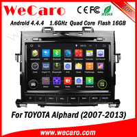 "Wecaro android 4.4.4 car dvd Dashboard Placement 9"" for toyota alphard car gps BT gps 3g TV 2007 - 2013"