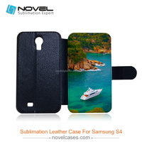 Wholesale leather flip sublimation mobile phone case for galaxy s4