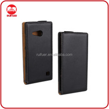 China Factory Wholesale High Quality Vertical Magnet Flip Leather Back Cover Case for Nokia Lumia 730