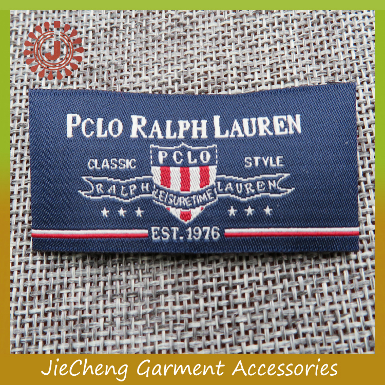 China factory woven brand logo main cheap label name patch private label clothing