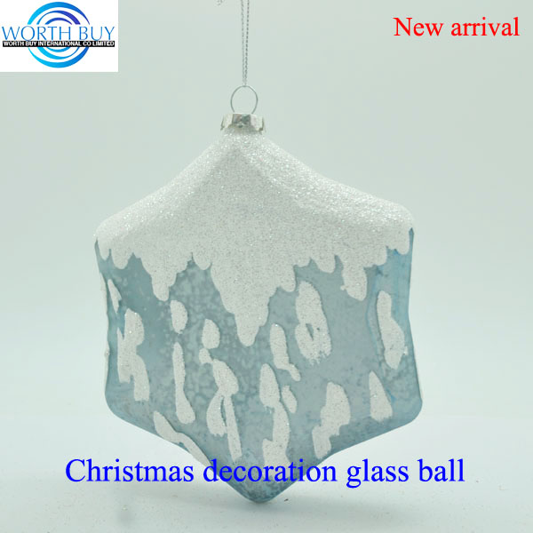 Flat blue frosted glass ball ornaments wholesale for Christmas decoration