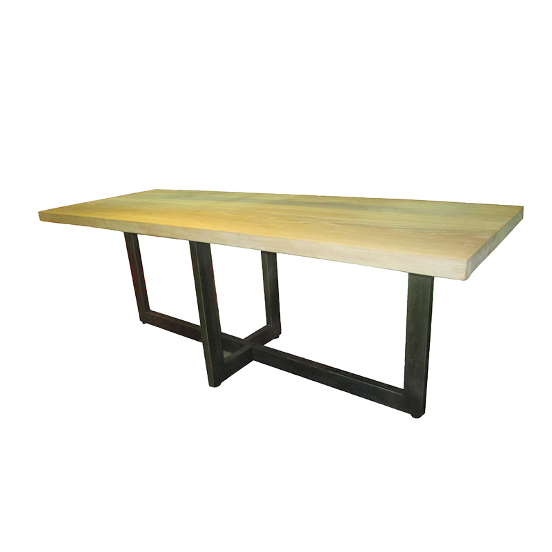 Extension Reclaimed Vintage Iron Metal Leg Ash Oak Pine Solid Wood Dinning Tables for Hotel Project