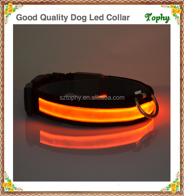 LED Lights dog Pets Collars, Adjustable Polyester Glow In Night Pet Dog Cat Puppy Safe Luminous Flashing Necklace Pet