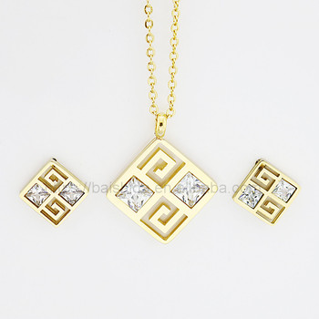 fancy quadrate shape jewelry set fine stainless steel China wholesale