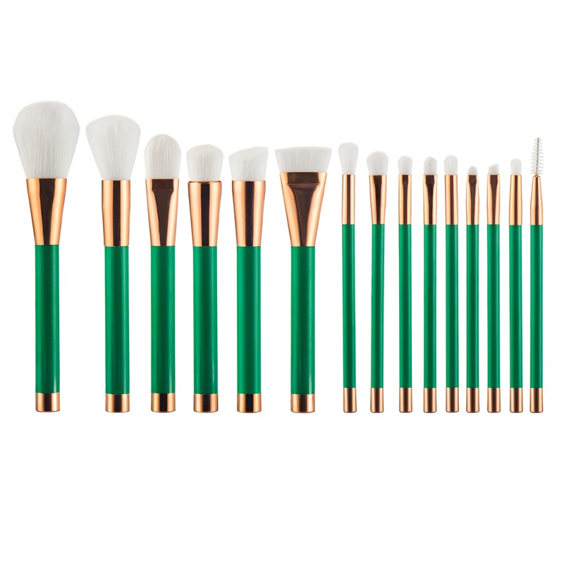 2016 NEW 15pcs Green+ Rose gold Foundation makeup brushes