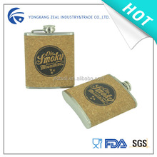 zeal 8oz cork leather stainless steel hip flask