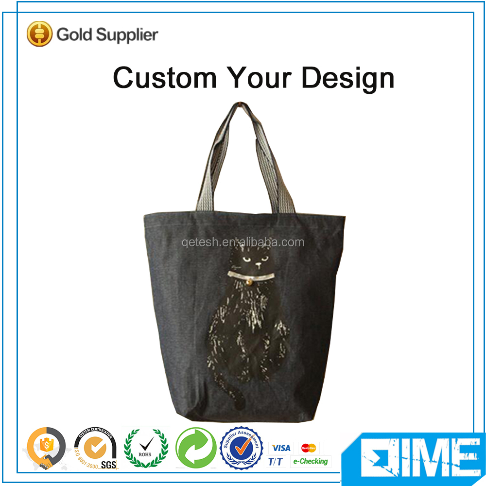 Fashion Black Cat Canvas Beer Tote Handle Bag