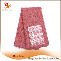 2016 New products lace fabric wholesale fushia pink guipure cord lace stones lace fabric african