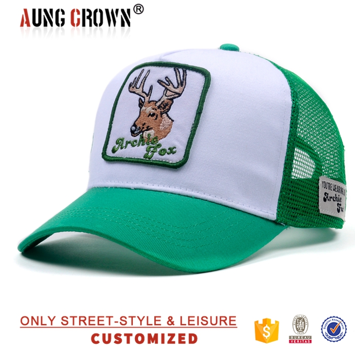Custom Animal Embroidery Mesh Baseball Cap , Printing Cotton Trucker Hat Wholesale