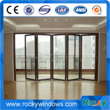 Exterior sound proof tempered glass solid wood bi folding door