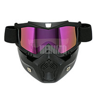 Detachable Mask goggle, Motocross Goggles , Mouth Filter For Open Face Vintage Half Helmet Motorcycle goggles