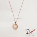 2018 Fashion Fancy Zircon Flower Shell Rose Gold Charm Necklace