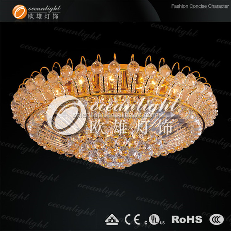 Flower 24k gold plated crystal celling lamp for hotel decoration OW604