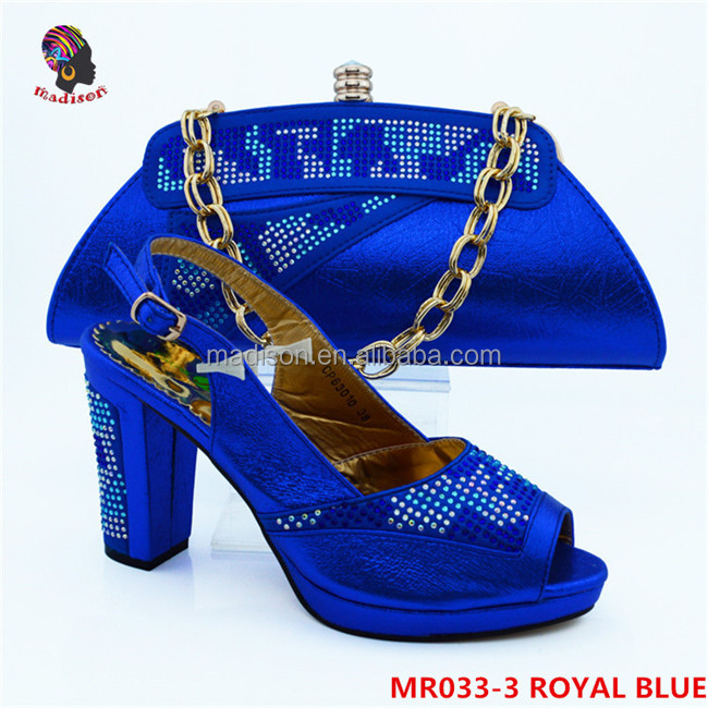 Gzmadison High Quality Elegant Party Shoes Matching Bag Crystal Evening Shoes With Stones Purse Evening Bag/MR033-3 Royal Blue
