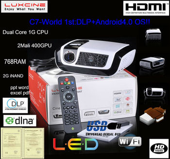 5% off Super bright !!! C7 Android 3d home theater projectors with WIFI and DLNA