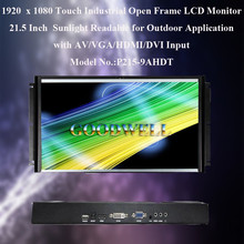 Sunlight Readable Outdoor 1920x1080 21.5 Inch Touch Industrial Open Frame LCD Monitor with Light Sensor