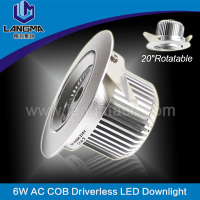 led down light with cob no driver 6W 70mm hole size alumimum spray white/sand silver cover 38 degree beam angle