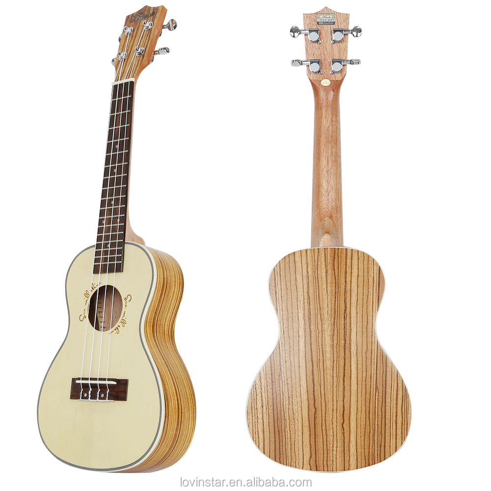 Hot Selling Zebra Wood Material 24 inch Tenor Ukulele Unique Classic Acoustic Bass Guitar for Sale