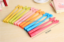 2016 Promotional gift finger design colorful silicone ballpoint pen for school&office