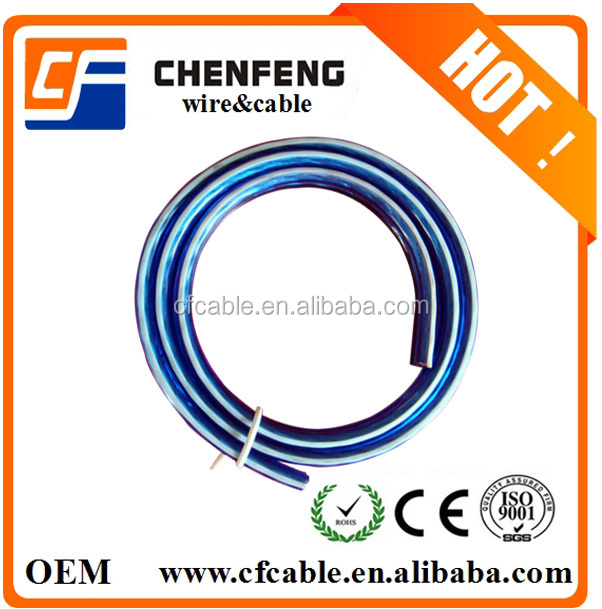 Best price Transparent Blue Speaker Cable With White Line