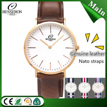 Nato watch factory waterproof band less MOQ watch private label logo leather watch
