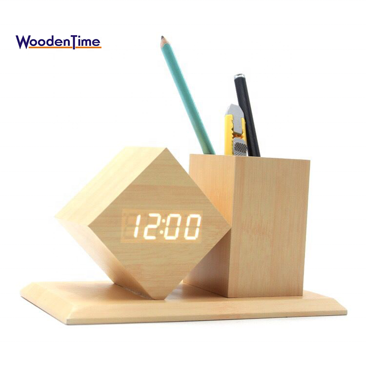 2018 Creative Christmas gift Study Desk Wood Pen Container Holder LED Digital Alarm Clock With Temperature Time <strong>Date</strong>
