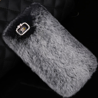 Trade Assurance Supplier Soft Rabbit Fur Phone Case for iPhone 5s 4s 6 6 Plus, Case for iPhone 6s Plus Wholesale
