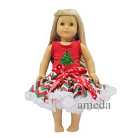 "18"" American Girl Doll Christmas Tree Red Tank Top with Red Green White Chevron Pettiskirt"