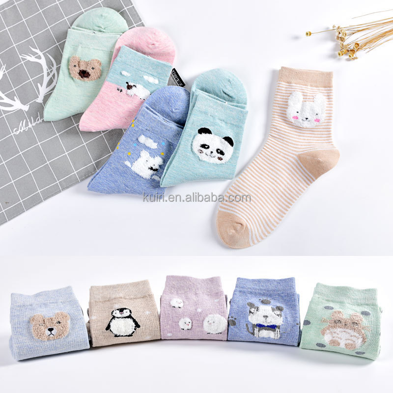 New Apparel women teen girls socks cute cartoon animal pattern cotton fun and cool crew sock oem wholesale