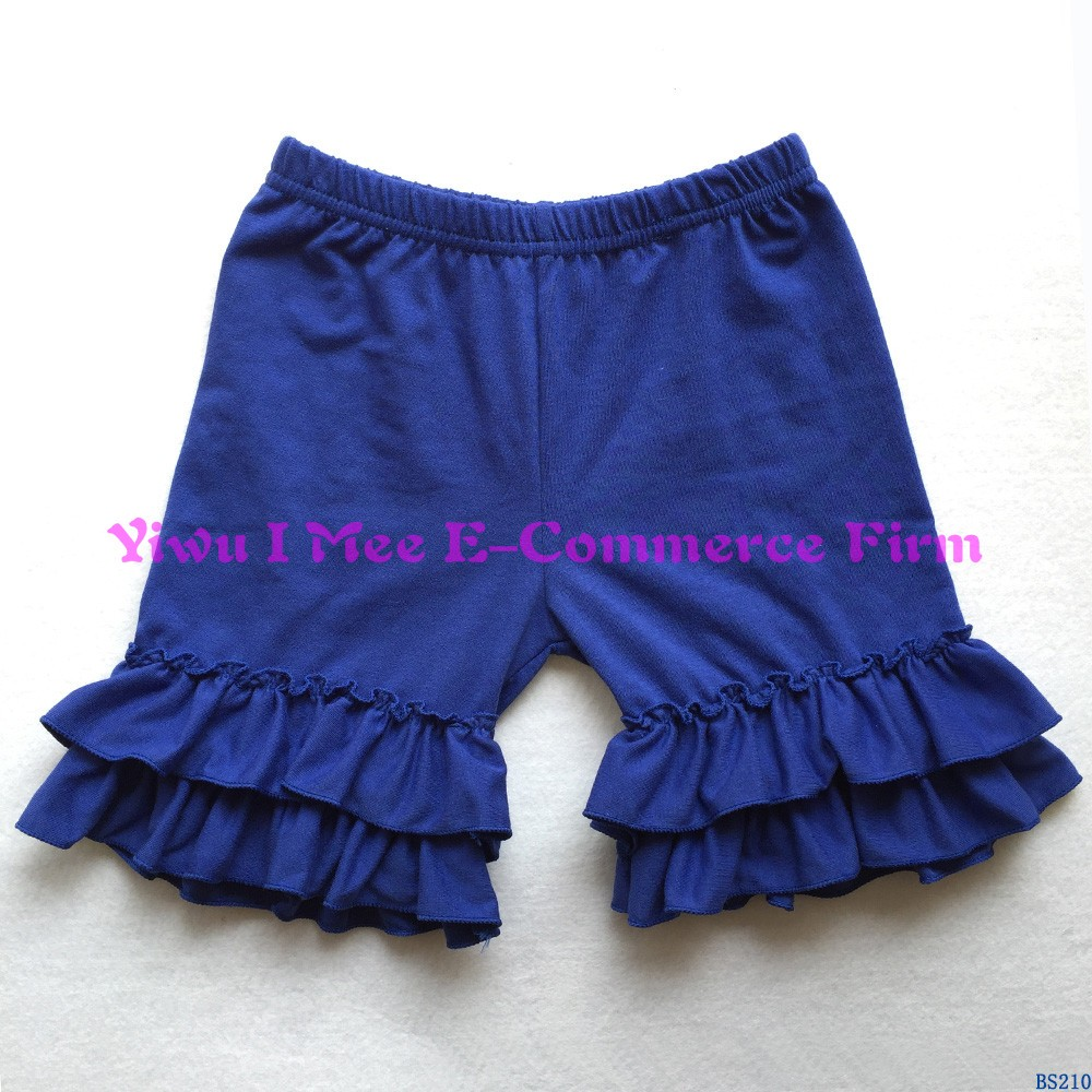 Boutique double ruffle kids cotton shorts wholesale children girls summer purple icing shorts