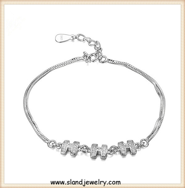 "Personalized mexico 925 silver bracelet wholesale from China, elegant slim silver chains with bejewelled ""H"""