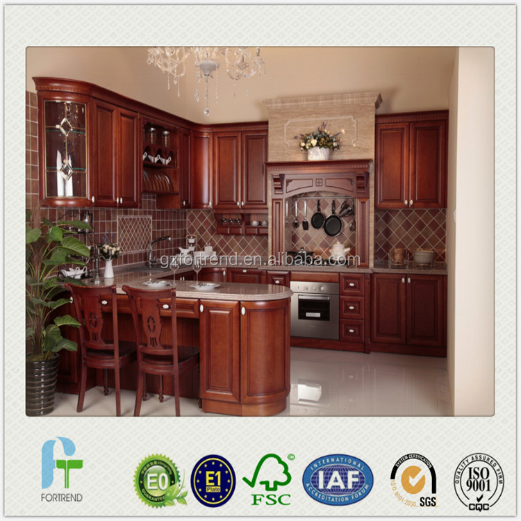 2016 new style classic solid wood kitchen cabinet with E1 certified