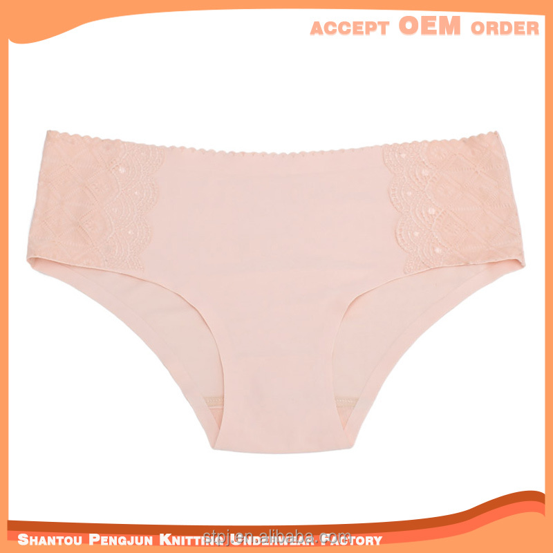 simple solid color lace decorate ladies panty thongs cheeky short