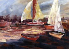 Beautiful boat Landscape Oil Painting Canvas